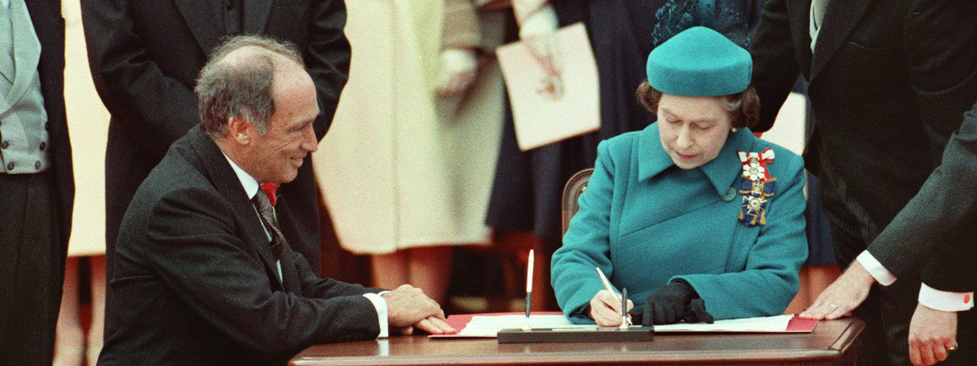 The Queen Signs the Constitution Act, 1982